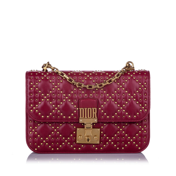 Red Dior Large Studded Dioraddict Leather Crossbody Bag