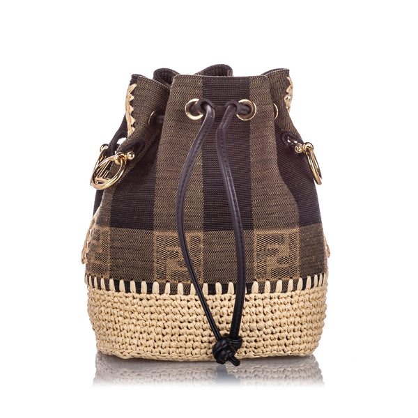 Brown Fendi Mini Pequin Mon Tresor Canvas Bucket Bag