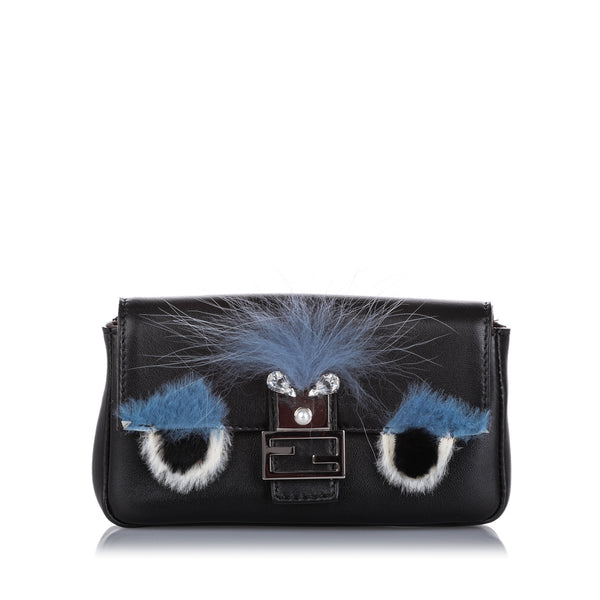 Black Fendi Micro Monster Baguette