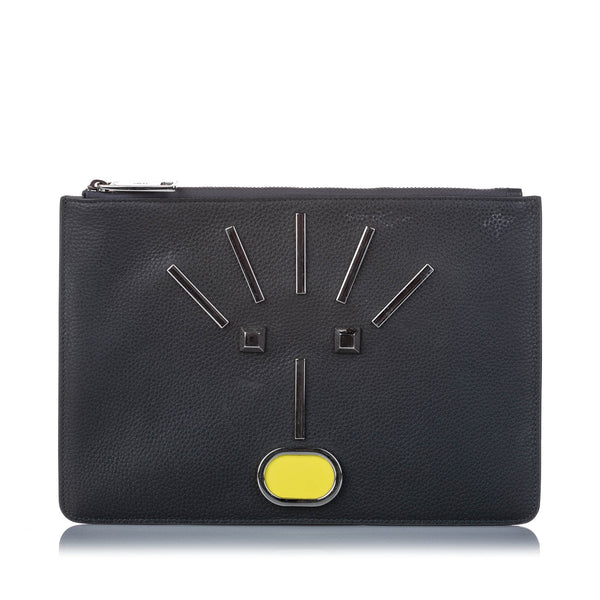 Black Fendi Leather Monster Zip Pouch