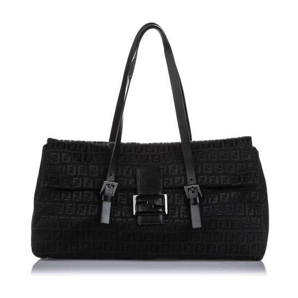 Black Fendi Zucchino Canvas Shoulder Bag