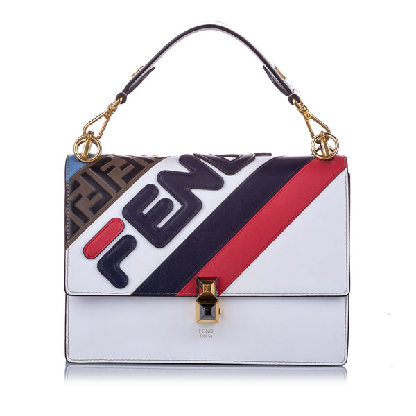 White Fendi FILA Kan I Mania Logo Satchel Bag