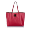 Red Fendi Logo Shopper Tote Bag