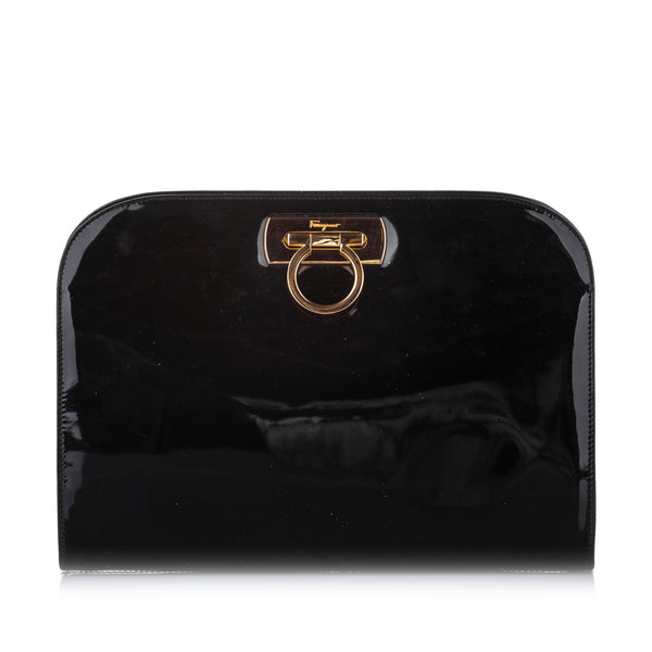 Black Ferragamo Gancini Patent Leather Crossbody Bag