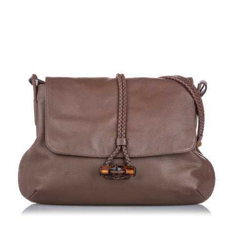 Brown Gucci Bamboo Hip Leather Crossbody Bag