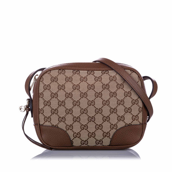 Brown Gucci GG Canvas Bree Crossbody Bag