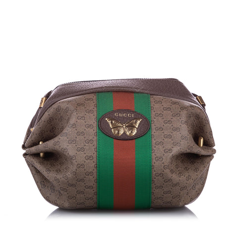 Brown Gucci GG Supreme Mini Web Butterfly Crossbody Bag