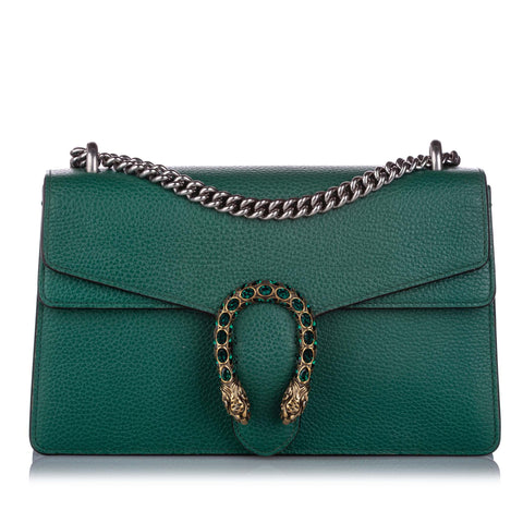 Green Gucci Small Dionysus Leather Shoulder Bag