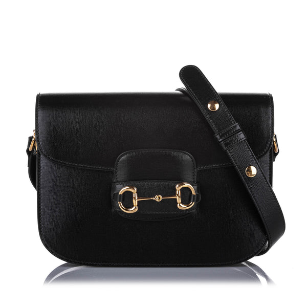 Black Gucci Horsebit 1955 Leather Shoulder Bag