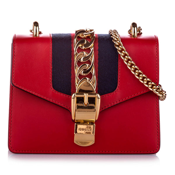 Red Gucci Mini Sylvie Chain Shoulder Bag