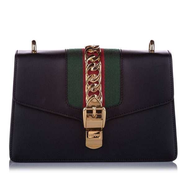 Black Gucci Small Sylvie Leather Shoulder Bag