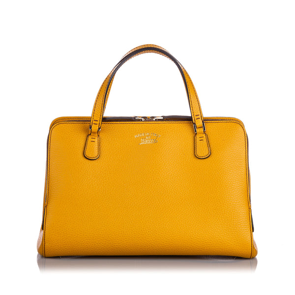 Yellow Gucci Swing Top Handle Leather Satchel Bag