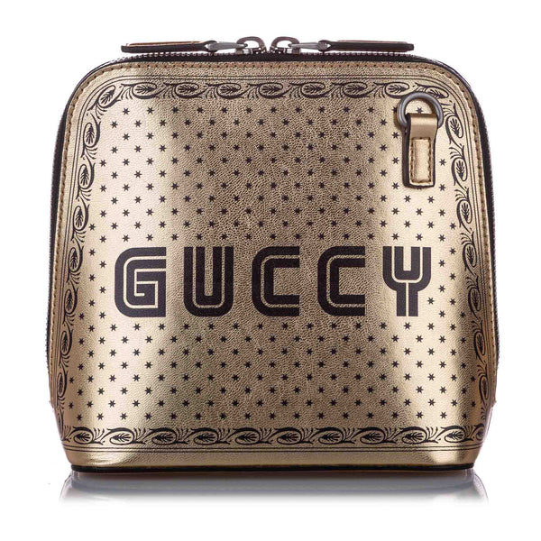 Black Gucci Guccy Sega Leather Satchel Bag