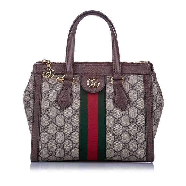Brown Gucci Small GG Supreme Ophidia Satchel Bag