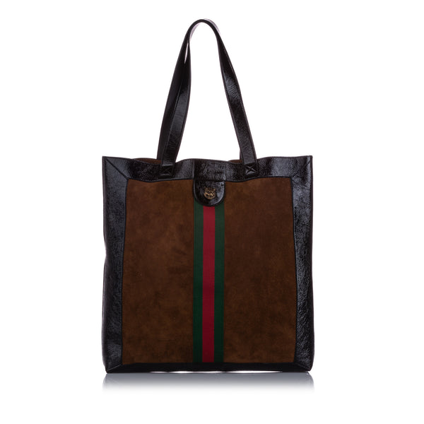 Brown Gucci Large Ophidia Suede Tote Bag