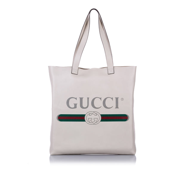White Gucci Logo Leather Tote Bag