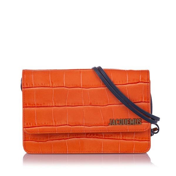 Orange Jacquemus Le Sac Riviera Embossed Leather Shoulder Bag