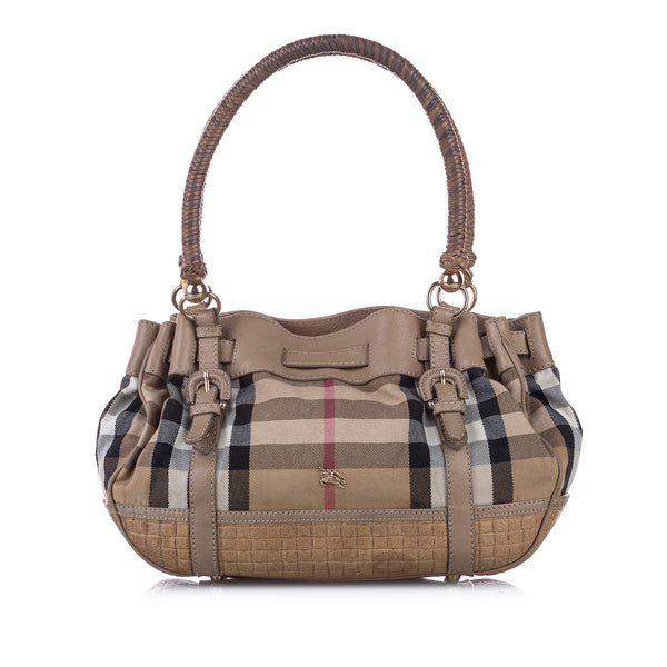 Brown Burberry Smoke Check Canvas Shoulder Bag