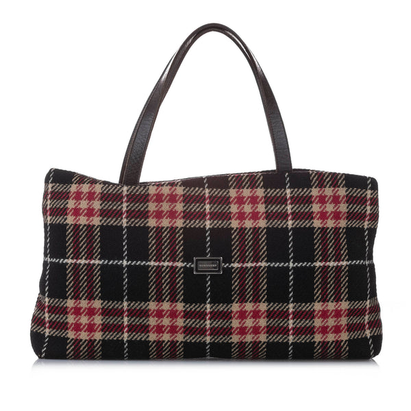 Black Burberry Wool Tote Bag