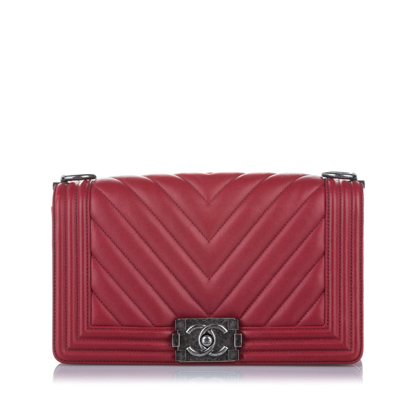 Red Chanel Chevron Boy Leather Flap Bag