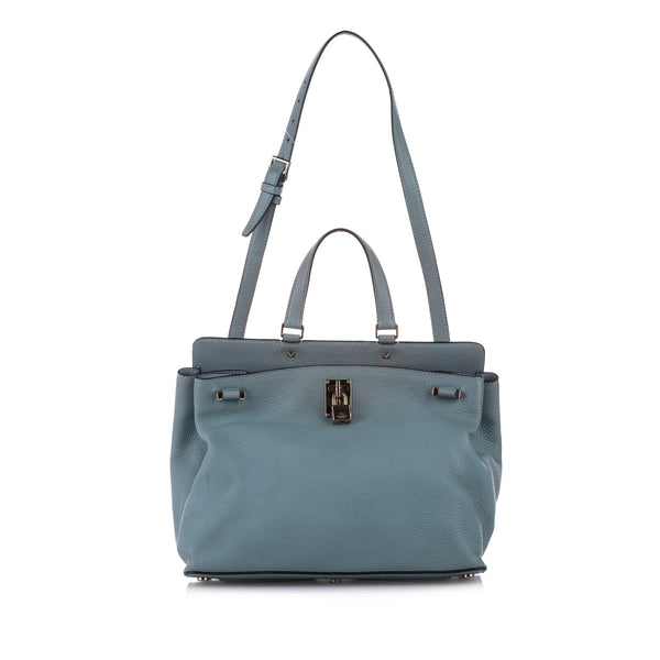 Blue Valentino Leather Satchel Bag