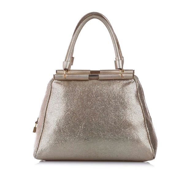 Silver YSL Majorelle Leather Handbag Bag