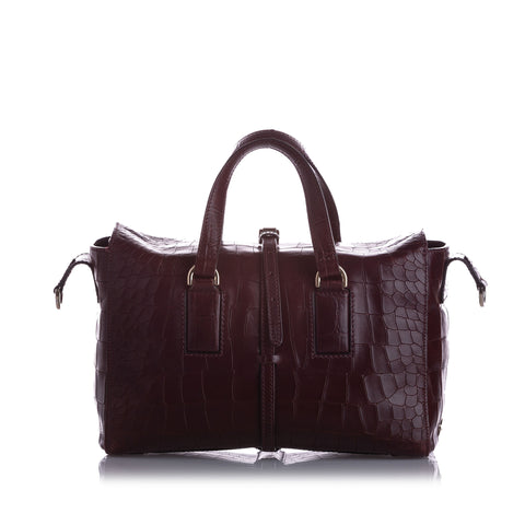 Brown Mulberry Roxette Croc Embossed Leather Satchel Bag