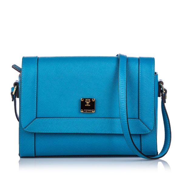 Blue MCM Leather Crossbody Bag