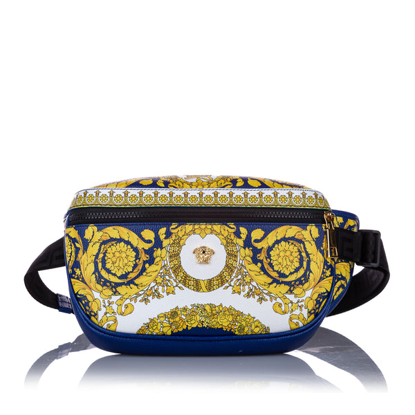 Blue Versace Barocco Leather Belt Bag
