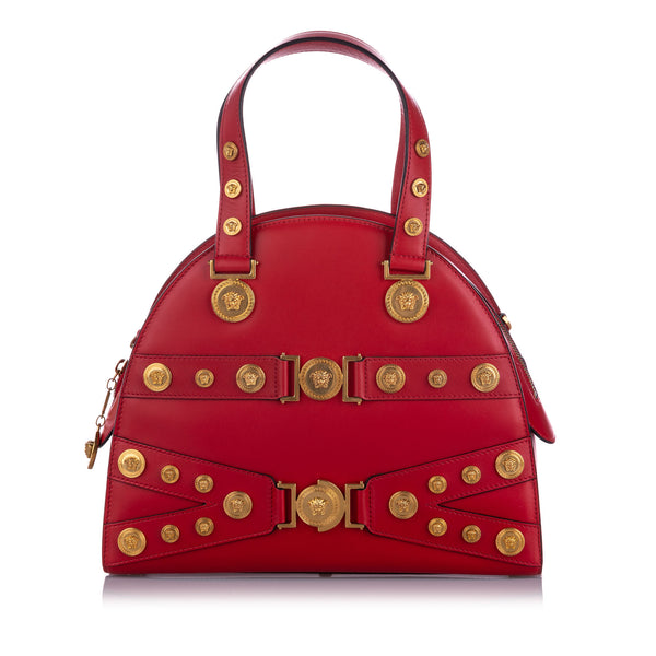 Red Versace Medium Tribute Medallion Leather Satchel Bag