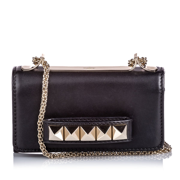 Black Valentino Leather Rockstud Va Va Voom Crossbody Bag