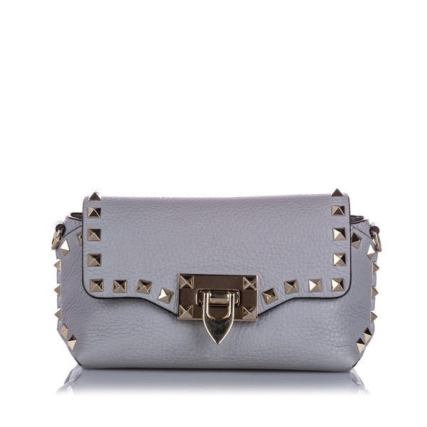 Gray Valentino Mini Rockstud Leather Crossbody Bag