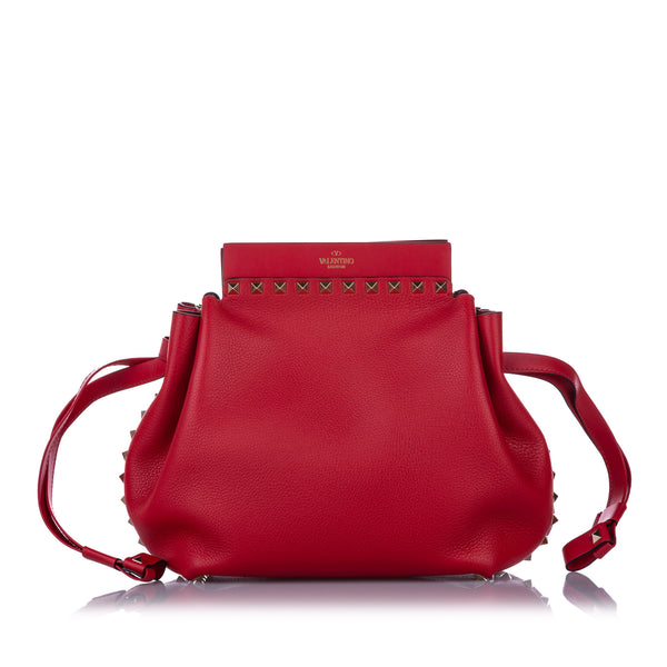 Red Valentino Rockstud Drawstring Leather Crossbody Bag