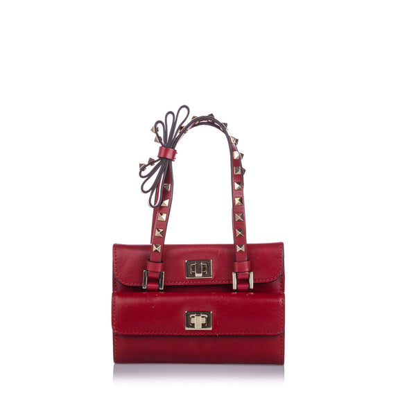Red Valentino Mini Rockstud Double Flap Bag