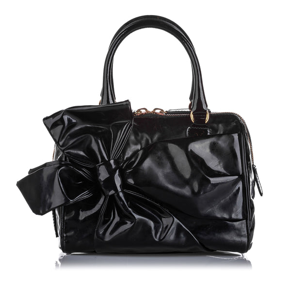 Black Valentino Lacca Bow Patent Leather Handbag Bag