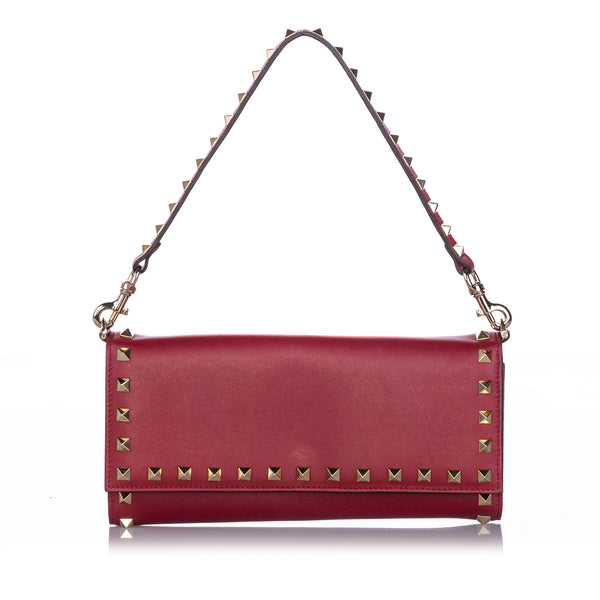Red Valentino Rockstud Leather Wallet on Strap