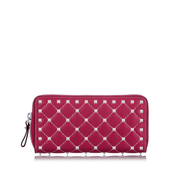 Pink Valentino Rockstud Spike Leather Wallet