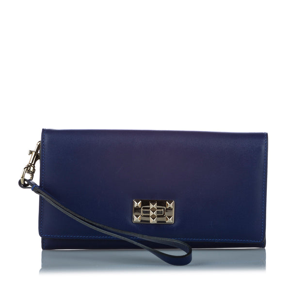 Blue Valentino Leather Long Wallet