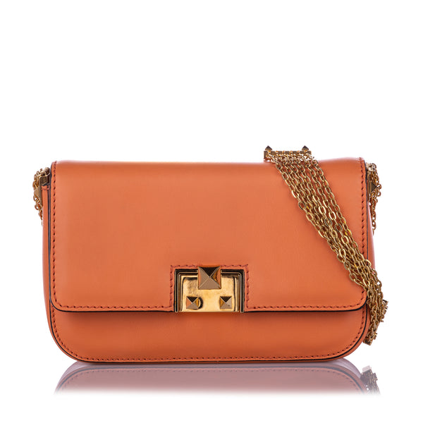 Orange Valentino Rockstud Glam Lock Crossbody Bag