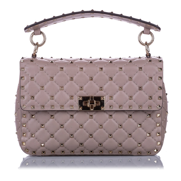 Mauve Valentino Medium Rockstud Spike Leather Satchel Bag