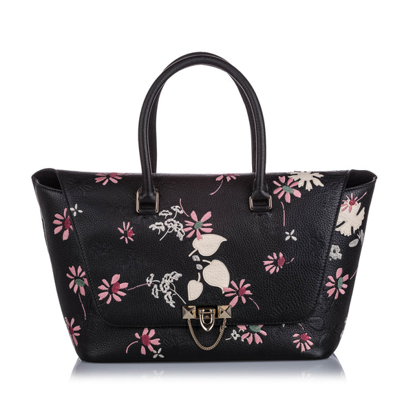 Black Valentino Embroidered Leather Demilune Satchel Bag