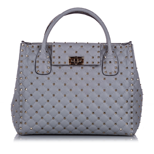 Gray Valentino Rockstud Leather Satchel Bag