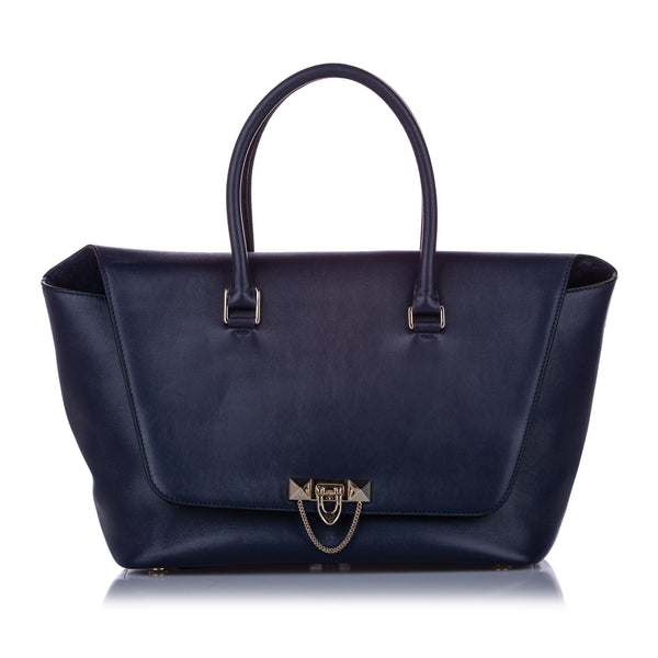 Blue Valentino Large Demilune Leather Satchel Bag
