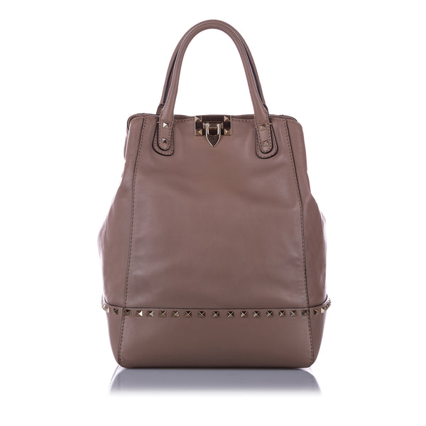 Brown Valentino Rockstud Leather Satchel Bag