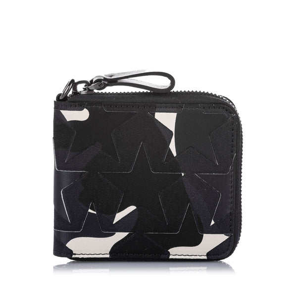 Black Valentino Camo Star Zip Around Canvas Small Wallet