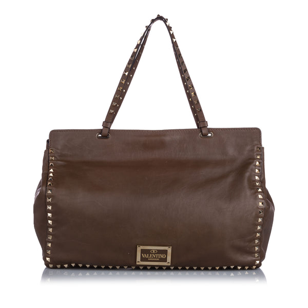 Brown Valentino Rockstud Leather Tote Bag