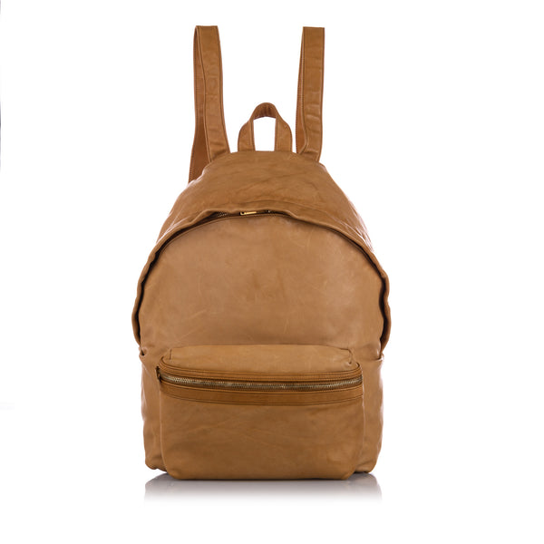 Brown YSL Hunting Leather Backpack Bag