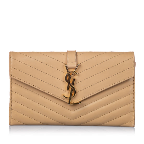Brown YSL Monogram Quilted Leather Clutch Bag