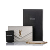 White YSL Chevron Monogram Wallet on Chain