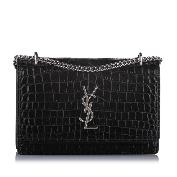 Black YSL Croc Embossed Sunset Wallet on Chain